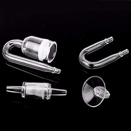 kingfly forma de U acuario CO2 Difusor Compruebe tubo de cristal ventosa, regulador de CO2 de Acuario