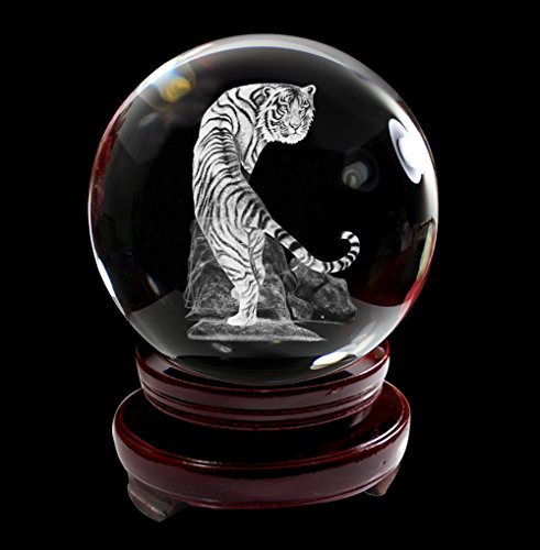 IFOLAINA Crystal Glass Ball 3D Laser Engraving Chinese Zodiac Signs Tiger Sensitive Home Decoration with Wooden Stand 80mm (Ball Zodiac Animal)