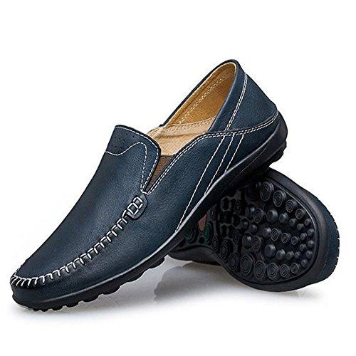 Azul de conducción de los Primavera de Ocasionales Hombres Cuero Zapatos Respirables Zapatos de zSwqx7SR