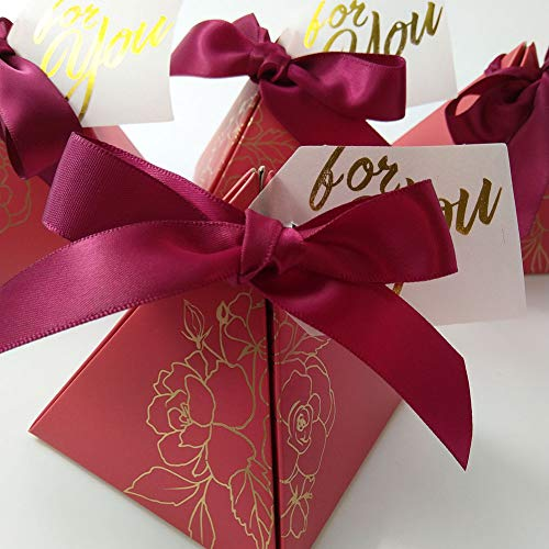 Triangle Wedding Party Favor Candy Box Chocolate Packaging Boxes Baby Shower Birthday Paper Gift Box Bag with Card and Ribbon (Dark ()
