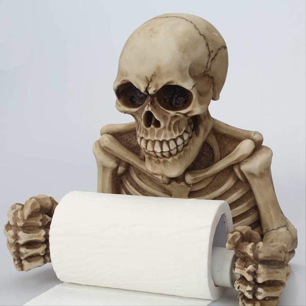 blanco dise/ño de calavera 19 * 18 * 13cm Soporte para papel higi/énico Creative