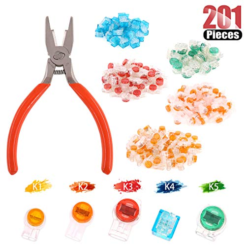 (Hilitchi 200 Pcs Telephone Wire Connector Wire Butt Splice Connector UY/UY2/UR/UR2/UG Crimp Terminal Connectors Assortment Kit - with One Connector Crimping Pliers)