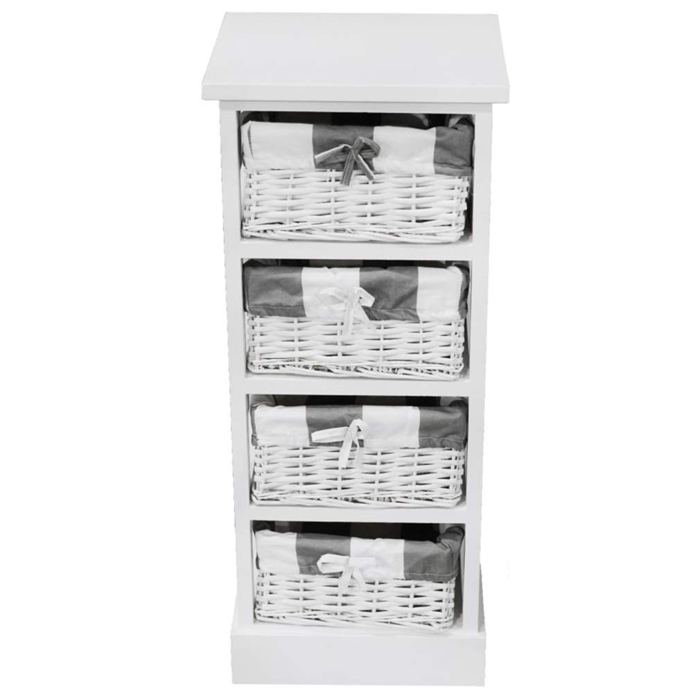 Nxtbuy Schubladenschrank aus Holz in Weiß 30 73 x 28 x 73 30 cm cm - Vintage Schränkchen Korbregal mit 4 Weidenkörbchen - Kommodenschrank aus Echtholz 3d623e