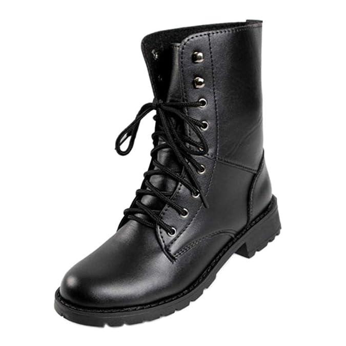 Yudesun Cordones Estilo Militar Combate Botines - Mujer Tacon Bajo Encaje Retro Punk Zapatos Trabajo Ejército Martín Negro Tobillo Botas: Amazon.es: Zapatos ...