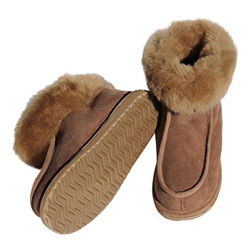 Hollert German Leather Fashion Pelle di Pecora Pantofole Donna Adam Scarpe Pantofole Vero Cuoio Scarpe di Pelliccia Morbido Merino Pelliccia - Marrone, 39 EU