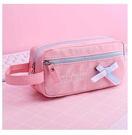 Estuches Pink Canvas Large Capacity Pencil Case Creative Bow ...
