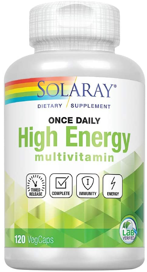 Solaray High Energy Multivitamin Once Daily, Timed-Release Formula Whole Food Herb Base Non-GMO 120 VegCaps
