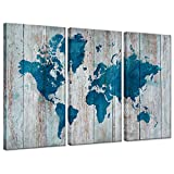 iHAPPYWALL Hello Artwork 3 Panel World Map Wall Art Vintage Teal Blue Map of The World On Wood Background Contemporary Picture Modern Artwork Framed and Stretched Ready to Hang for Living Room