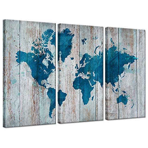 Hello Artwork 3 Panel World Map Wall Art Vintage Teal Blue Map of The World On Wood Background Contemporary Picture Modern Artwork Framed and Stretched Ready to Hang for Living Room ()