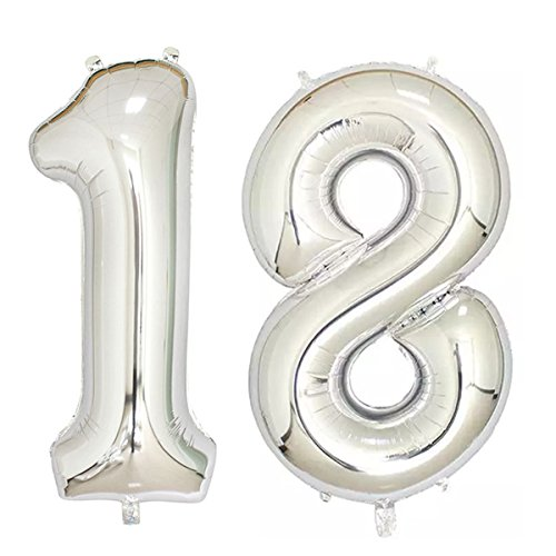 40inch Silver Foil 18 Helium Jumbo Digital Number Balloons 18th Birthday Decoration For Girls Or Boys Party Supplies
