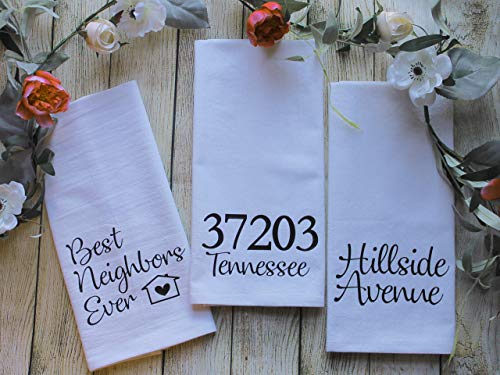 Personalized Best Neighbors Ever Custom Tea Towel Gift Set - Zip Code & State Towel and Street Name Towel Includes all 3 Towels - DAVIS FONT