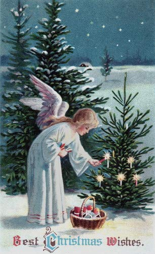 Vintge Artwork~Angel Lights Candles on Woodland Christmas Tree~6 pack NEW Matte Vintage Picture Large Blank Note Cards with Envelopes