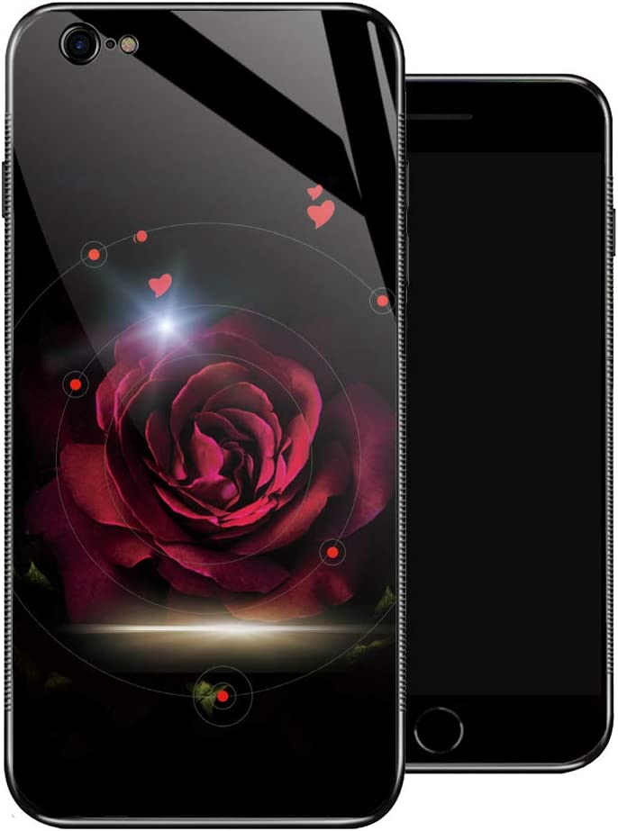 iPhone 6 Plus Case,Red Rose Love iPhone 6s Plus Cases for Girls,Non-Slip Pattern Design Back Cover[Shock Absorption] Soft TPU Bumper Frame Support Case for iPhone 6/6s Plus 5.5-inch Red Rose Flower