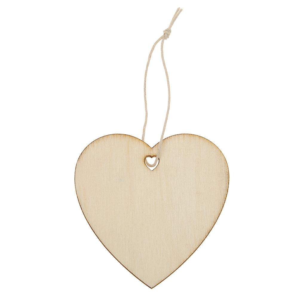 HighPlus 10pcs Wood Christmas Tree Hanging Pendant Party Ornaments Decor (Love Heart