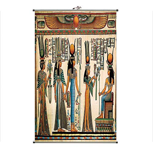 Wall Hanging Picture Wall Scroll Poster Fabric Painting,Queen Nefertari Making an Offering to Isis,3D Print Design Personality Customization Make Your Room unique23.6 X23.6 ()