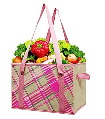 Earthwise Reusable Grocery Bag Shopping Box Deluxe Collapsible Pink Plaid Fashion Tote with Reinforced Bottom (2 Pack)