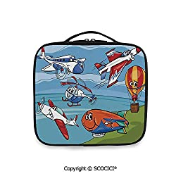 SCOCICI Large Capacity Travel Handle Wash Bag Airplane Cartoons Toy Planes Jets Helicopter and Hot Air Balloon Aircraft Ship Party Decorations Organize Personal Items for Women Girls