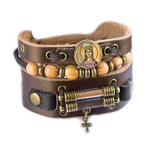 Saint Catherine Bracelet with Olive Wood Beads, Jordan River Holy Water and Jerusalem Earth (Women size: 6.5 - 7.5 Inches) by Rani Shoket