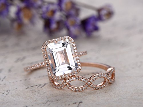 - 2pcs Moissanite Wedding Ring Set,8x10mm Big Emerald Cut 3.2ct Forever Classic Moissanite Solid 14k Rose Gold Diamond Halo Engagement Ring Half Eternity Curved Loop Anniversary Stackable Bridal Band
