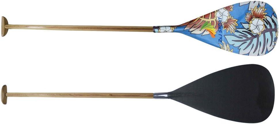 ZJ Sport Paleta híbrida de Canoa con diseño gráfico Hoja de carbón y Eje Curvado de Madera(BH-369, 125CM): Amazon.es: Deportes y aire libre