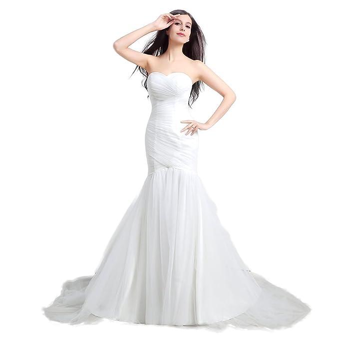 Engerla Mujer Sweetheart corte tren Ruched playa de sirena de tul vestido de novia, trapecio