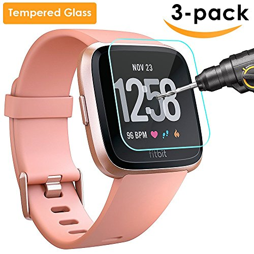 QIBOX Fitbit Versa Screen Protector, 3 Pack Tempered Glass Screen Protector for Fitbit Versa Smart Fitness Watch Tracker, Ultra Clear Scratch Resistant Anti-Bubble ()