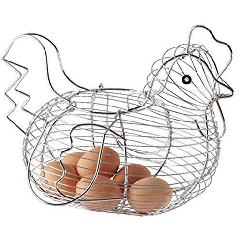 Chicken Shaped Egg Holder Metal Wire Fruit Basket Table Top Snacks Organizer Kitchen Gadget