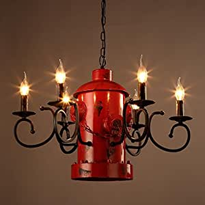PinWei_ Fire hydrant candle chandelier, creative cafe bar-style chandelier,Red