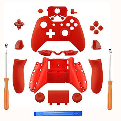 SN-RIGGOR Replacement Matte Red Controller Housing Shell Full Set Faceplates Buttons for Xbox One Controller with 3.5 mm Jack Xbox One Controller Shell Kit with 3.5mm port