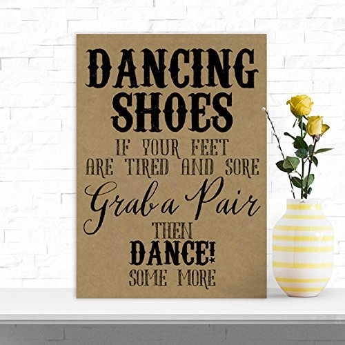 586365ff9cb258 Amazon.com  Rustic Dancing Shoes Tired Feet Wedding Flip Flop Table Sign  (JJ) (Brown) by Purple Scrunch  Kitchen   Dining