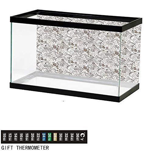 bybyhome Fish Tank Backdrop Chocolate,Classic Floral Motifs,Aquarium Background,24