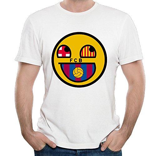 (Men's FC Barcelona Soccer Club FCB Logo Lionel Messi Funny Emoji Face T Shirts)