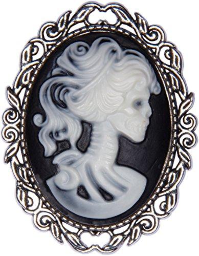 Antique Pewter Skeleton Bride Cameo Brooch Pin + FREE GIFT BAG -
