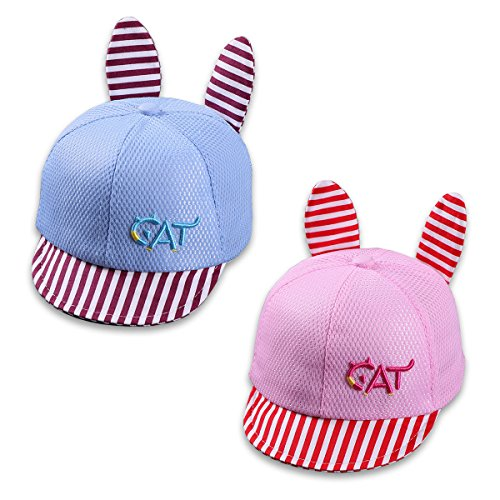 Baby Baseball Cap 6-12 Months Infant Toddler Striped Embroidered Summer Sun Hats with Ears for Boys and Girls (Embroidered Kids Ball Cap)