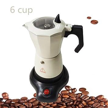 Cafetera Italiana Máquina Europea de café enchufable Oficina Cafetera Cafetera Espresso Portátil de Aluminio Moka Pot 6 Tazas eléctricas para la Oficina en ...
