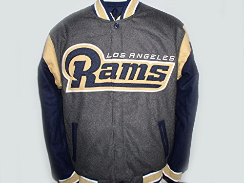 Men's Los Angeles - LA Rams Wool Reversible Varsity Jacket (L) by J.H. Design