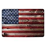 Bathroom Bath Rug Kitchen Floor Mat Carpet,Rustic American USA Flag,Fourth of July Independence Day Weathered Retro Wood Wall Looking Country Emblem,Flannel Microfiber Non-slip Soft Absorbent