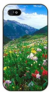 Colorful pad of flowers, mountain - iPhone 4 / 4s black plastic case / Flowers and Nature, floral, flower