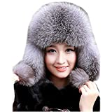 Gegefur Womens Fox Fur Russian Ushanka Trapper Hat with Pom Poms (Silver Fox)