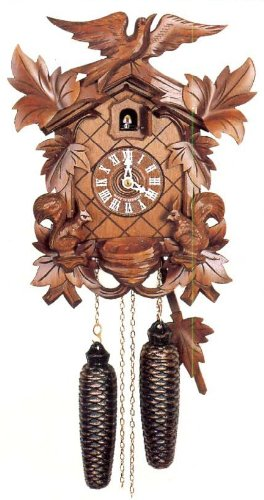 (Original Eight Day Movement Cuckoo Clock with Moving Squirrels 13 Inch)