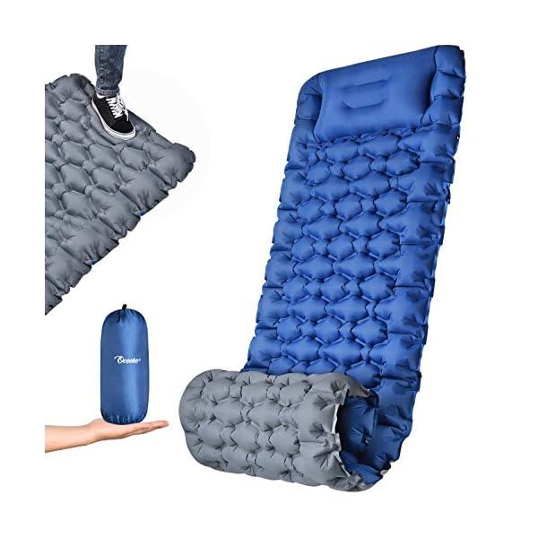 51AZ8SJ2h0L OCOOKO Isomatte Camping schlafmatte mit Fußpresse Pumpe - luftmatratze Camping isomatte aufblasbar selbstaufblasbare…