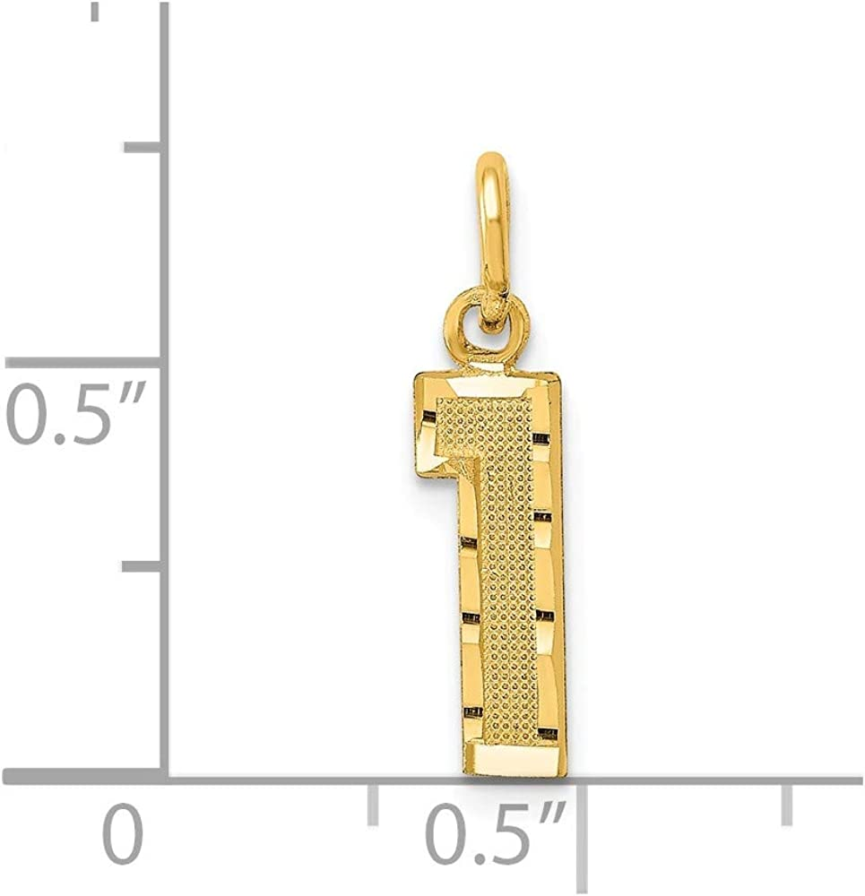 Number 1 Pendant Digit One Charm Diamond Cut Fancy Small 14K Yellow Gold