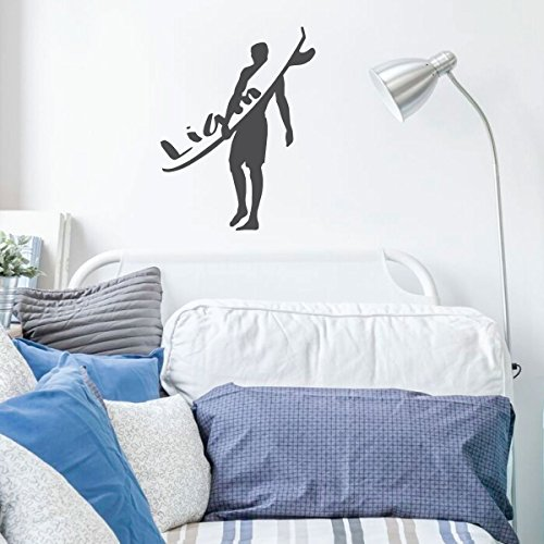 Surfing Wall Decor - Personalized Vinyl Decal for Home Decor, Bedroom, Playroom Or Beach House - Surfer Gift - Blue Surfing Wallpaper