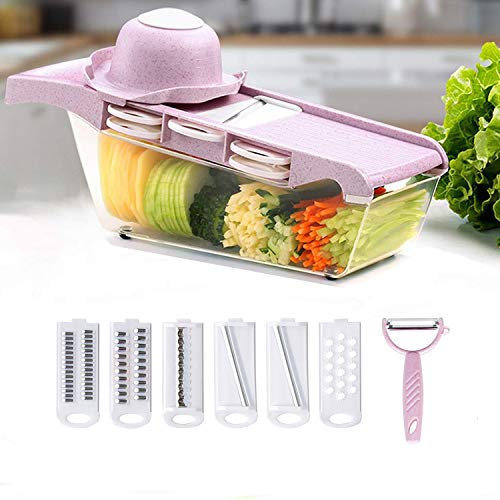 K Kwokker Vegetable Chopper Mandoline Slicer Dicer Cutter Grater Cutter Spiralizer with 6 Interchangeable Stainless Steel Blades with Safety Protector-Heavy Duty Julienne Multifunctional Kitchen Tool