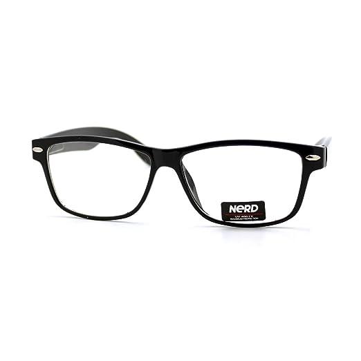 8d47c5db3dd Amazon.com  Unisex Short Wayfarer Eyeglasses Clear Lens Classic Rectangular  Frame BLACK  Clothing