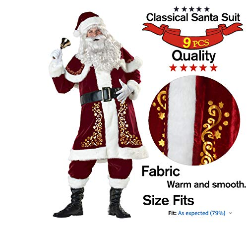OVOV Adult Santa Claus Christmas Suit Costume Set for Party Cosplay (Large) (Santa Suit Regency)