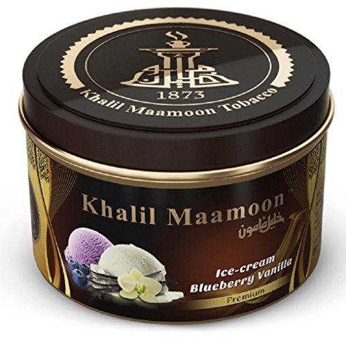 Khalil Mamoon Shisha Molasses Premium Flavors 250g For Hookah (Ice Cream Blueberry Vanilla)