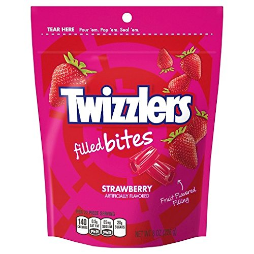 Strawberry Bites - Twizzlers Licorice Candy Bites Resealable Pack (Strawberry)