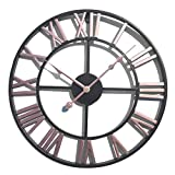 Goshfun Vintage Wall Clock, 3D Roman Numerals Silent Wall Clock Large Metal Decorative Clock for Living Room Kitchen Bedroom, 16-Inch, Pink