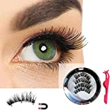 #9: Magnetic Eyelashes 4 Pieces No Glue Triple Magnets Ultra Thin 3D Fiber Magnetic Lashes Extension Set with Tweezers for Natural Look Perfect for All Eyes Reusable Magnetic False Eyelashes